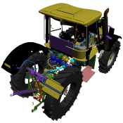 Tractor schematic front view